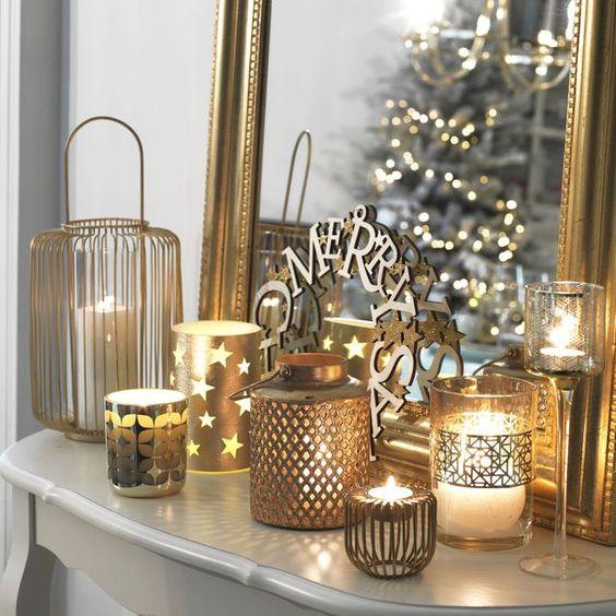 decoration noel couleur or exemple intérieur