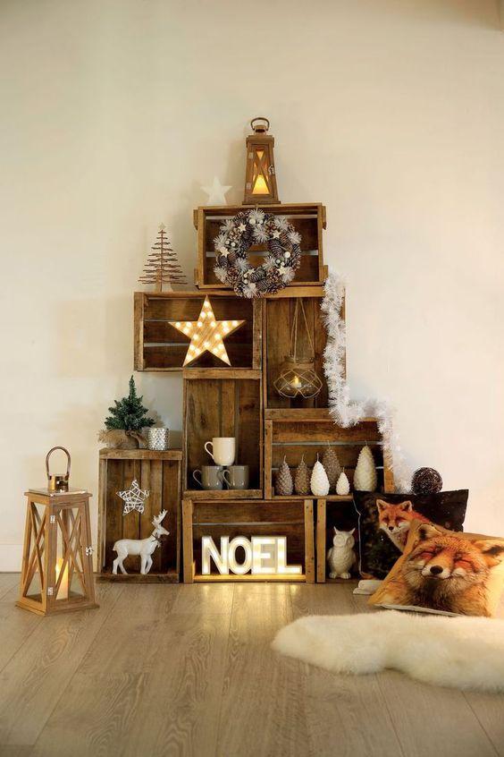 decoration noel couleur or exemple maison