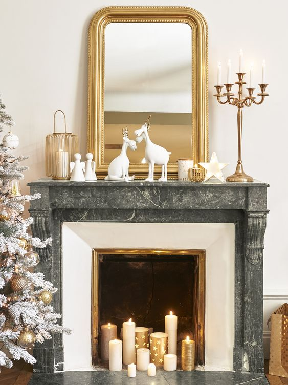 decoration noel couleur or exemple cheminée