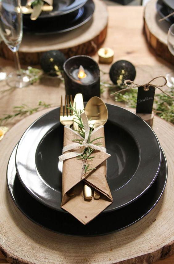 decoration table noel kraft et recup