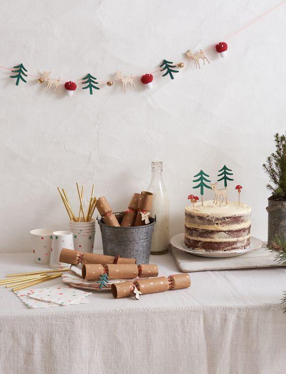 decoration noel kraft et recup table simple