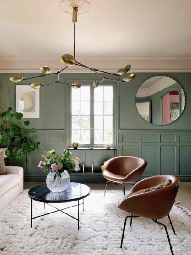 peinture vert sauge fauteuil vintage cuir