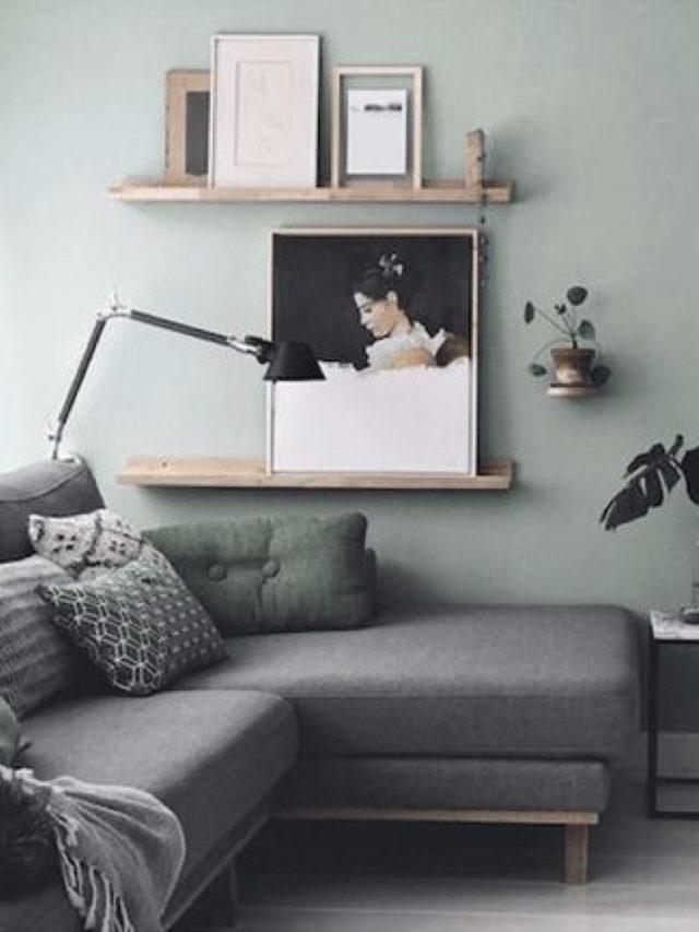 salon vert sauge étagère canapé gris moderne