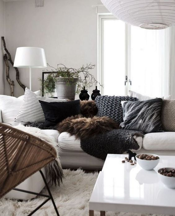 exemple ambiance hygge salon gros plaid