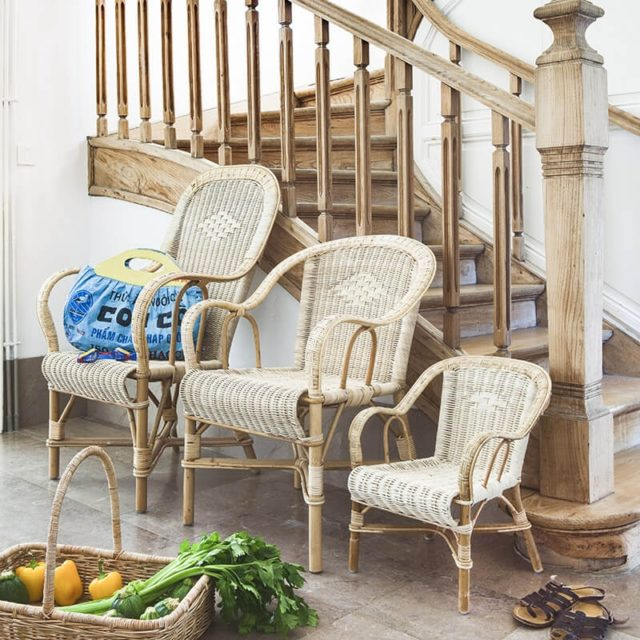 meuble rotin moderne 4 pieds fauteuil