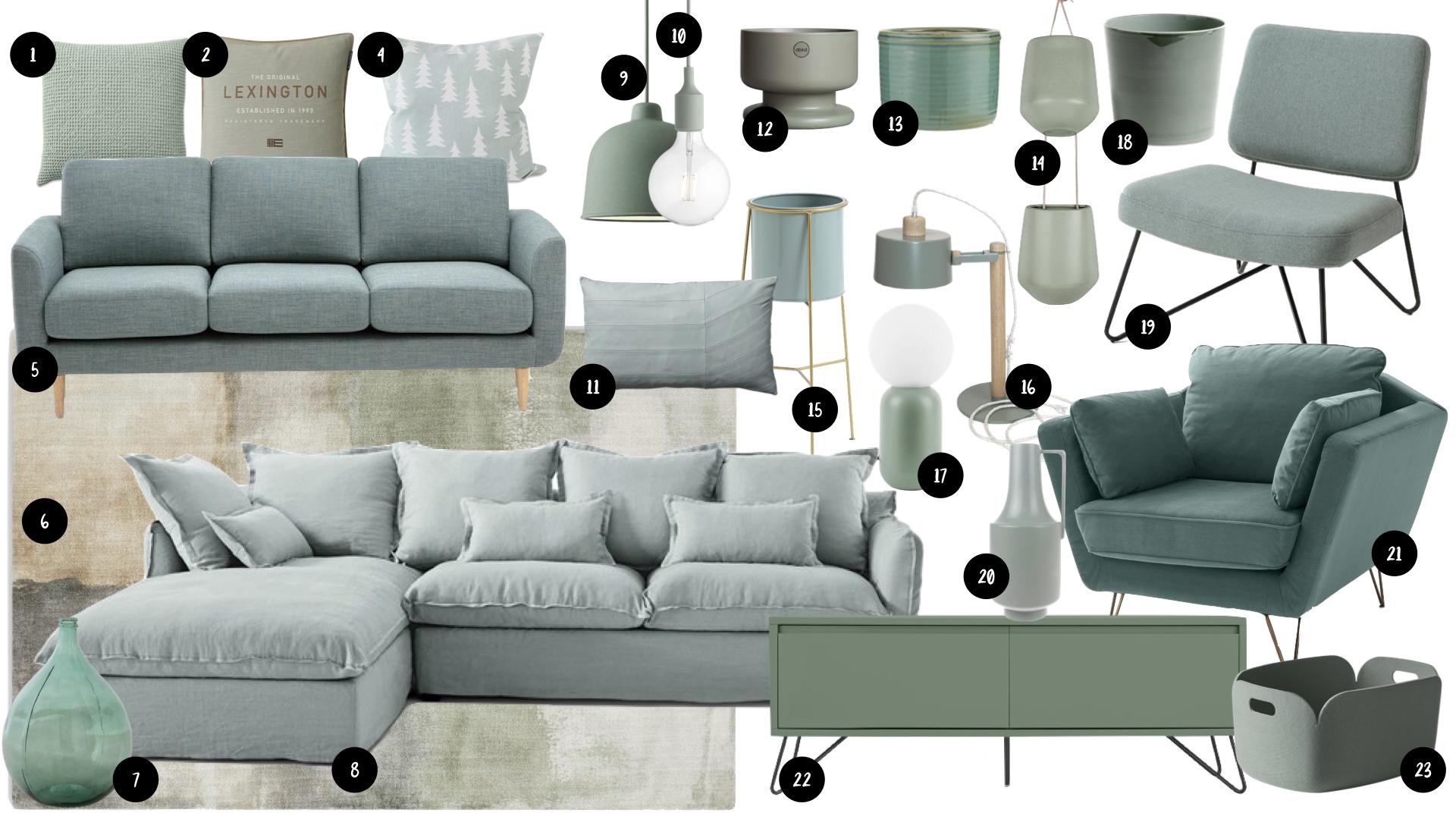 ou trouver deco vert sauge salon sejour accessoire et mobilier