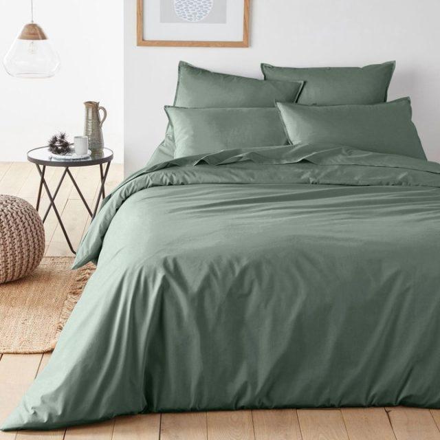 ou trouver parure de lit vert sauge coton bio
