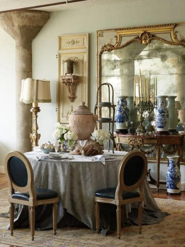 salle a manger classique deco murale exemple miroir ancien