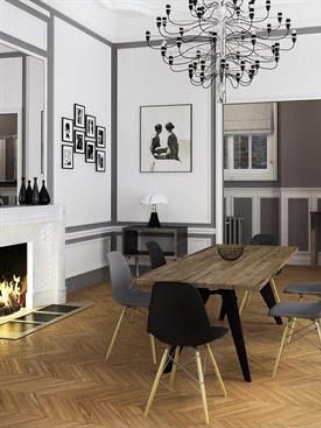 salle a manger classique deco murale exemple noir et blanc