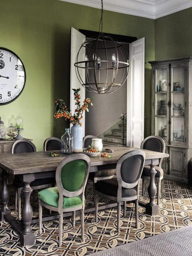 salle a manger classique chaise velours vert et marron