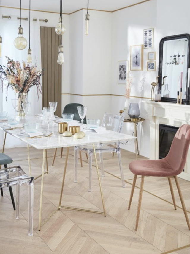 salle a manger classique chaise velours rose
