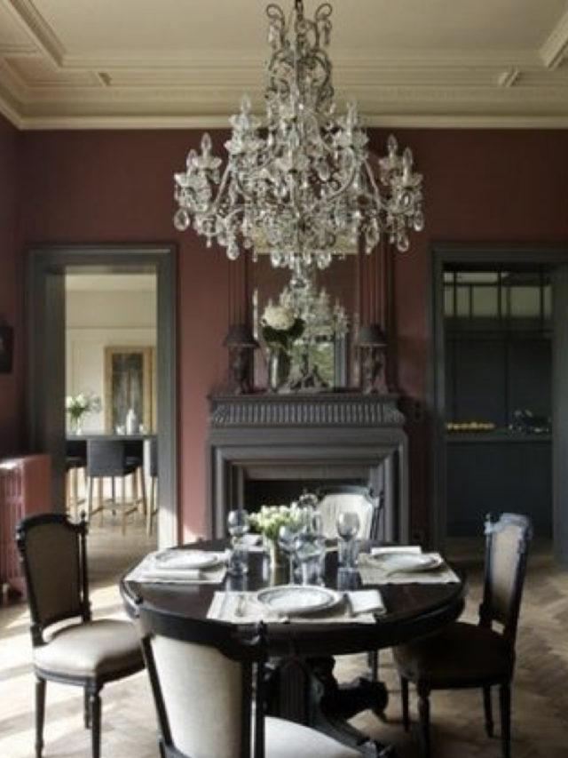 salle a manger classique luminaire pampilles couleur sombre