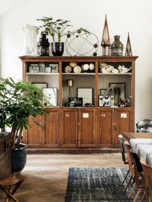 salle a manger style nature exemple grande vitrine ancienne
