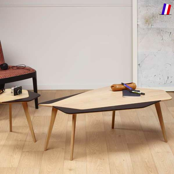 salon 4 pieds made in France table basse deco bois
