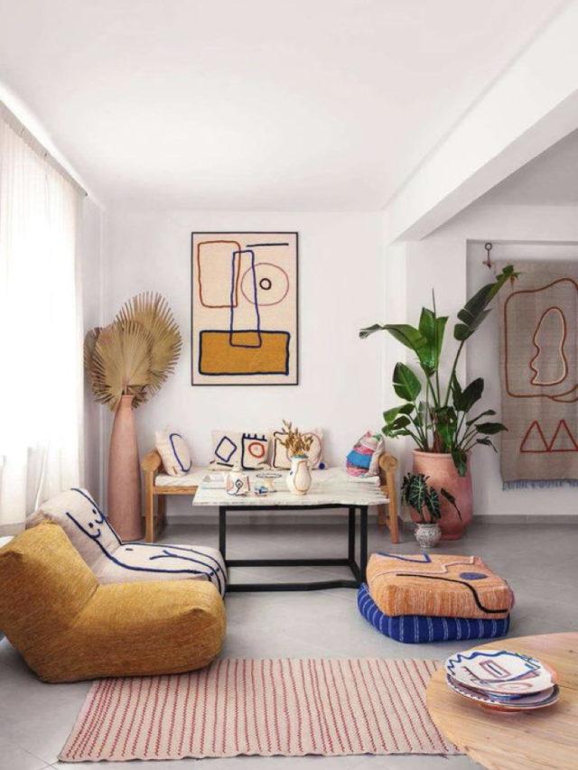 salon deco style arty fauteuil bas design