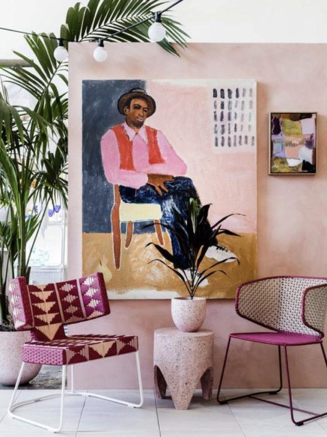 salon deco style arty couleur rose