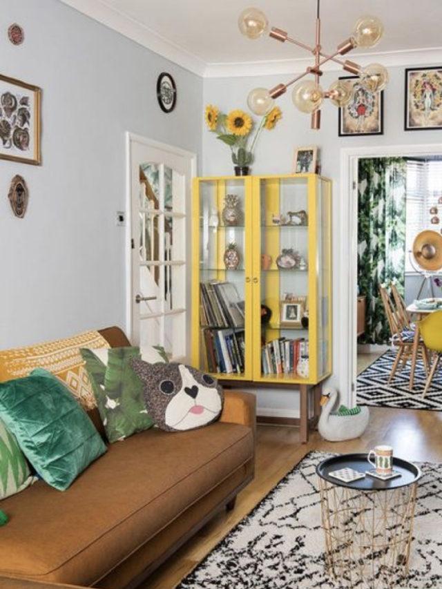salon deco style arty exemple vitrine couleur