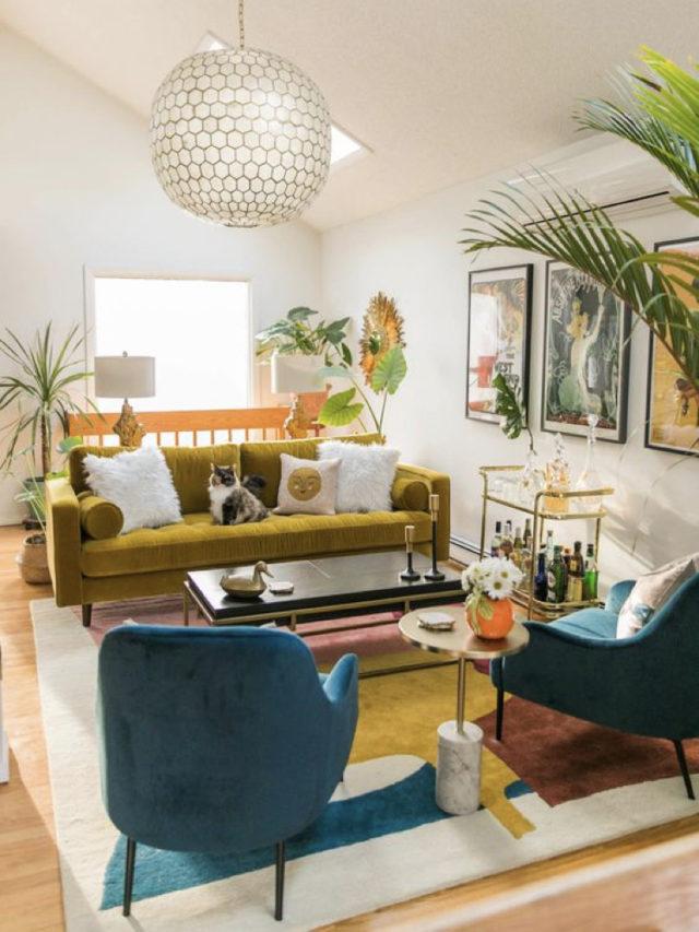 salon deco style arty exemple jaune et bleu