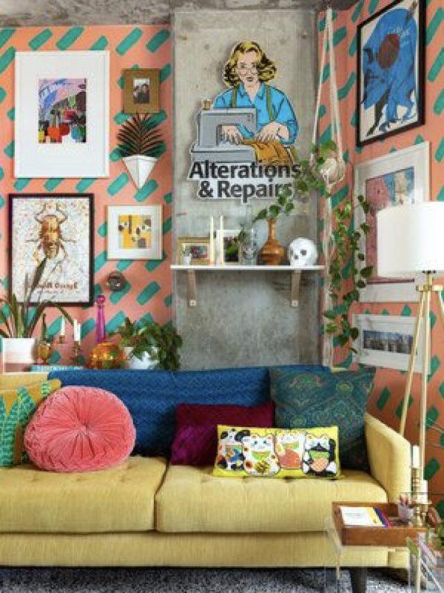 salon deco style arty exemple couleur