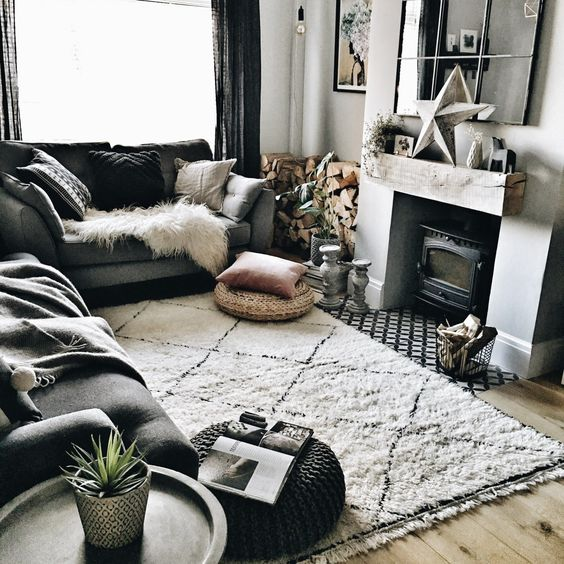 salon hygge deco grise tapis berbere