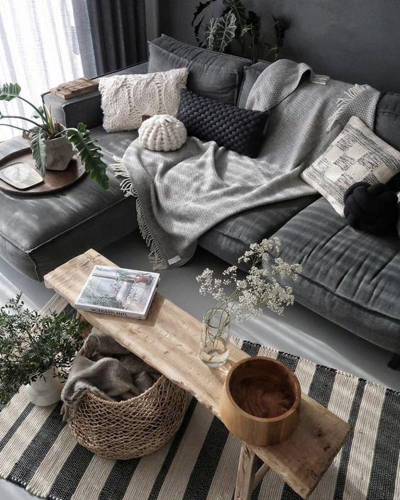 salon hygge deco grise velours et laine