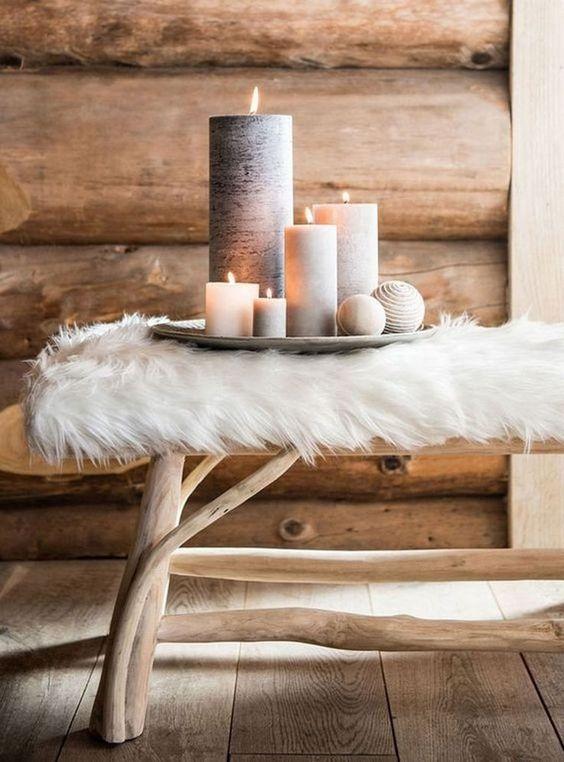 style hygge decoration salon bougie fourrure