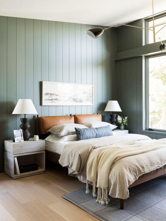 vert sauge chambre moderne et chaleureux cuir