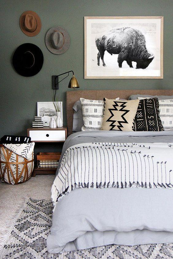 vert sauge chambre moderne boheme