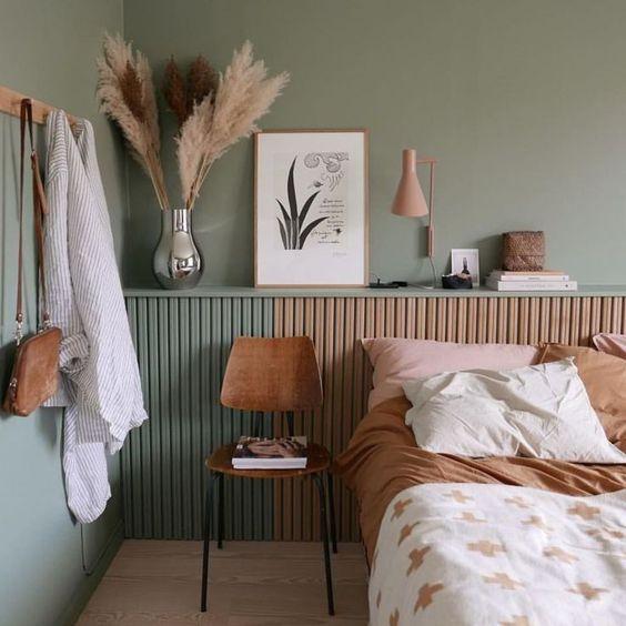 vert sauge chambre nature bois inspiration