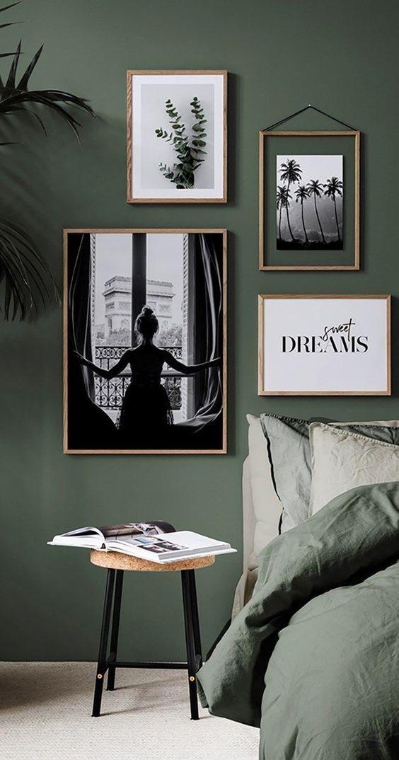 vert sauge chambre noir et blanc cadre mur