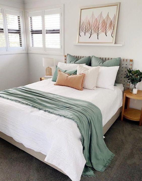 vert sauge chambre parure de lit idee deco