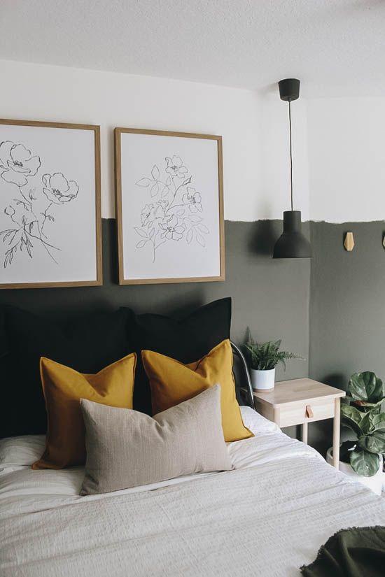vert sauge chambre peinture soubassement