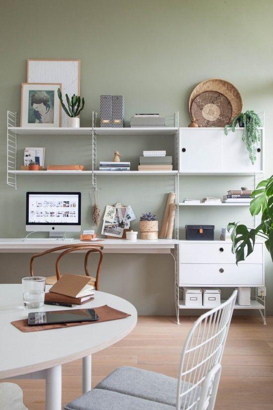 association couleurs vert sauge et blanc bureau