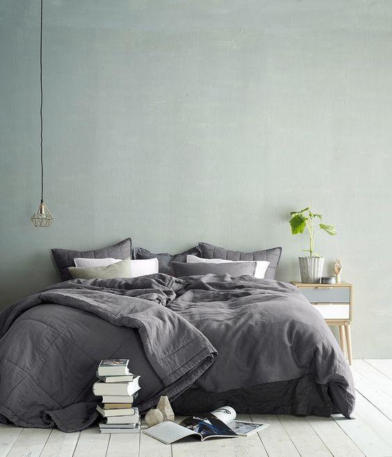 vert sauge et gris chambre