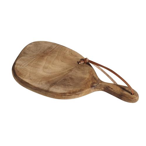 accessoire en bois decoration cuisine blanche planche à decouper petit format avec sangle