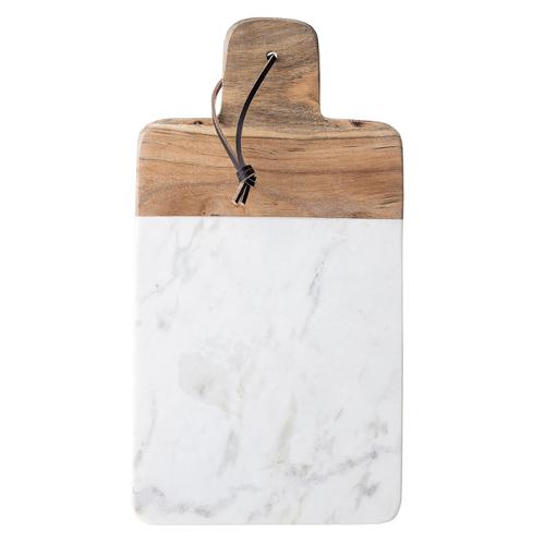 accessoire en bois decoration cuisine blanche planche decouper bois et marbre moderne