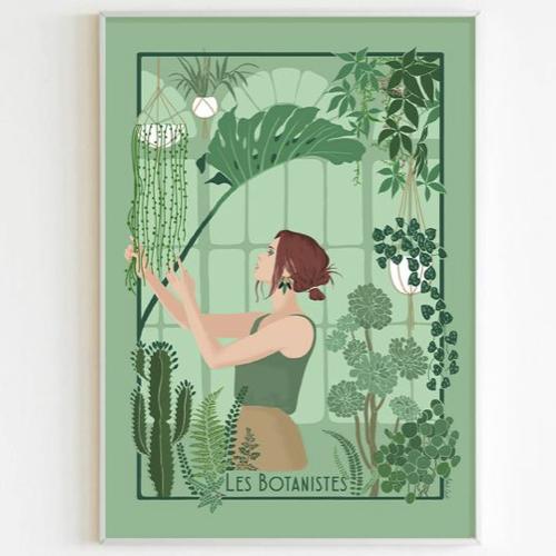 affiche deco entree pas cher illustartion botaniste vert plante tropicale poesie