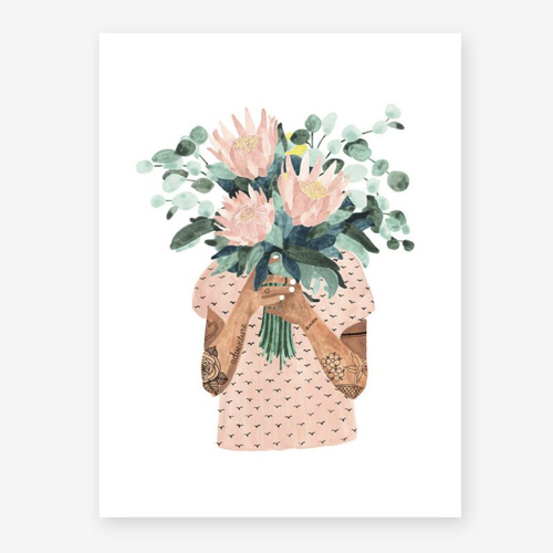 affiche deco entree pas cher illustration tatouage fleur rose