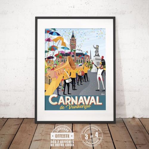affiche deco entree pas cher illustration carnaval de dunkerque bande cirés jaunes