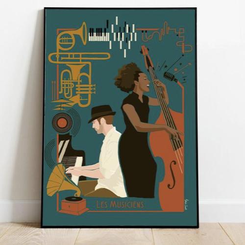 affiche deco entree pas cher illustration musicien