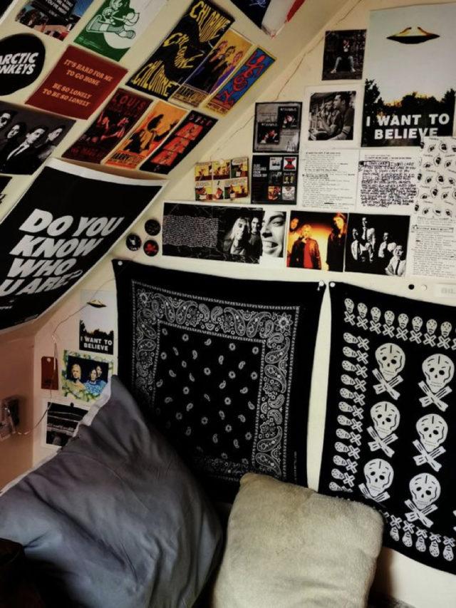 chambre ado style rock déco murale affiche poster drapeau