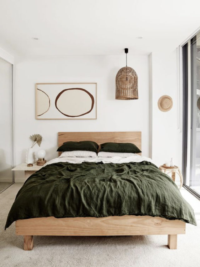 chambre style nature chic exemple décoration murale moderne