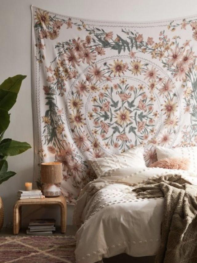 chambre style nature chic exemple tenture florale textile décoration
