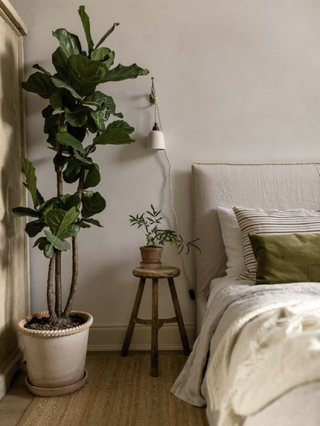 chambre style nature chic exemple ambiance slow + arbuste