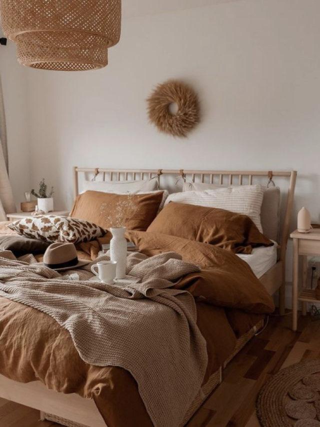 chambre style nature chic exemple parure de lit terre cuite
