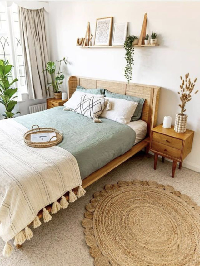 chambre style nature chic exemple tête de mit rotin