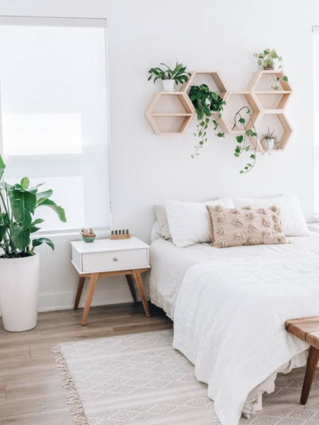 chambre style nature chic exemple mur blanc etagere plantes