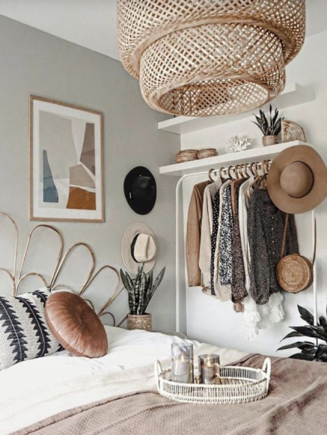 chambre style nature chic exemple penderie vestiaire