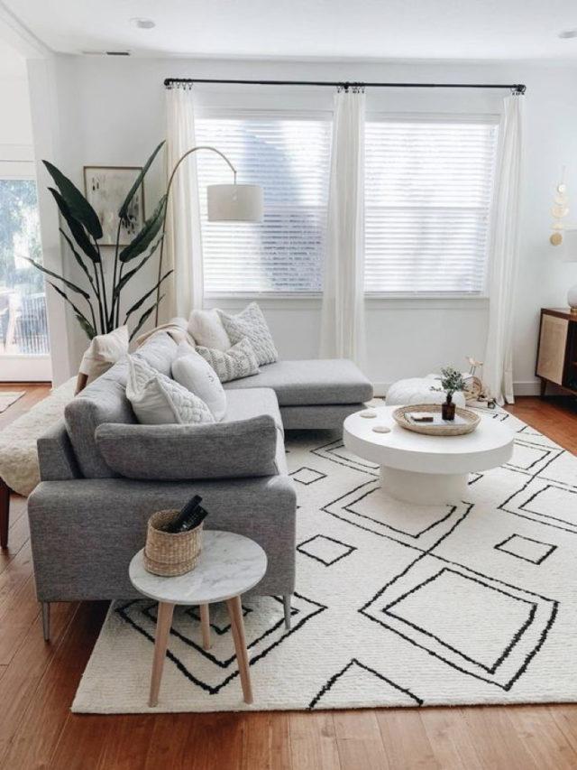 comment choisir voilage salon lumineux salon scandinave moderne + tapis berbère + canapé gris