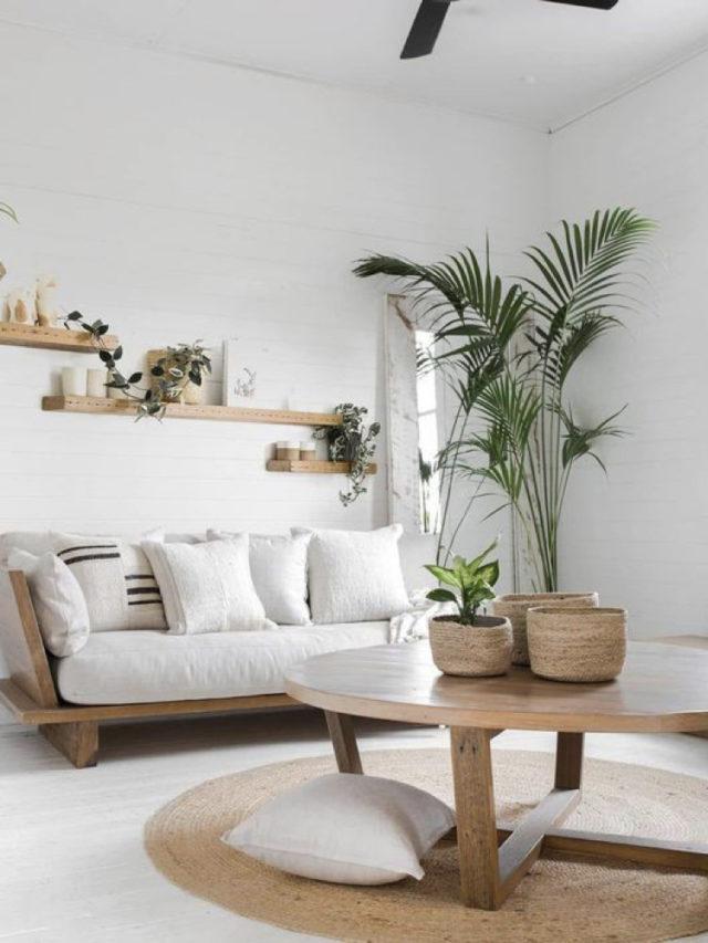 comment creer salon lumineux canapé bois et blanc decoration slow minimaliste simple avec plantes vertes